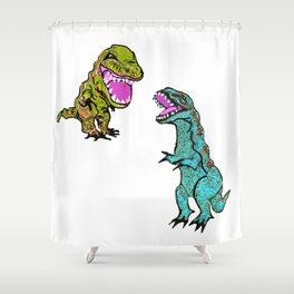Dueling Dinos Shower Curtain