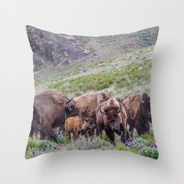 Buffalo On The Move In Yellowstone Throw Pillow