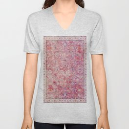 N45 - Pink Vintage Traditional Moroccan Boho & Farmhouse Style Artwork. Unisex V-Neck