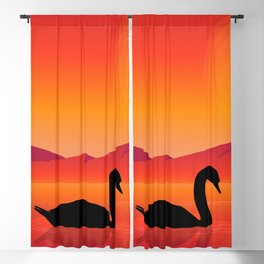 Silhouettes of Swans at Sunset Blackout Curtain
