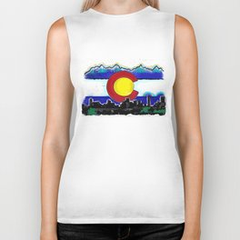 Denver Colorado artistic skyline art Biker Tank