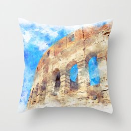 part of the Colosseum, Rome, Italy, summer Throw Pillow