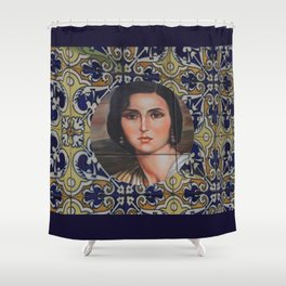Spain 46 - Woman in Madrid with mosaic on the wall Shower Curtain