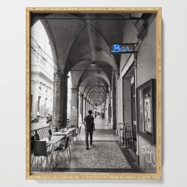 Black and white Bologna Street Photography Serving Tray