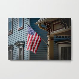 Old Glory American Flag Flown from Front Porch Naperville Illinois Metal Print