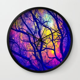 Black Trees Deep Bright & Colorful Space Wall Clock