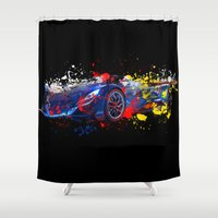 sport Shower Curtains featuring sport car by mark ashkenazi
