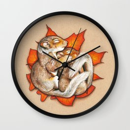 Autumn Squirrels Wall Clock