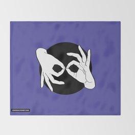 Sign Language (ASL) Interpreter – White on Black 02 Throw Blanket