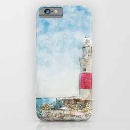 Aquarelle sketch art. Lighthouse in Gibraltar, blue sky and sea iPhone Case