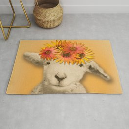 Daisies Sheep Girl Portrait, Mustard Yellow Texturized Background Rug