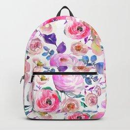 Elegant modern pink lilac orange watercolor floral Backpack