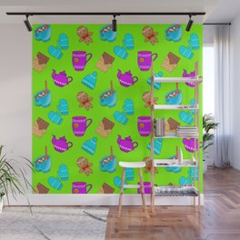Lovely gingerbread men cookies, chocolate bars, hot cocoa, mittens, hats. Green winter pattern Wall Mural