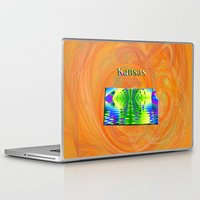 kansas Laptop & iPad Skins featuring Kansas Map by Roger Wedegis