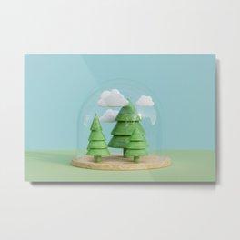 Tree under glass dome 3D rendering Metal Print
