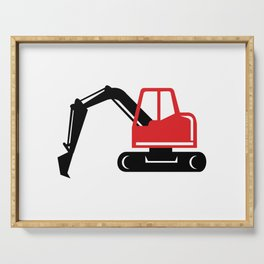 Mechanical Excavator Digger Retro Icon Serving Tray