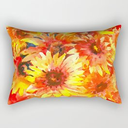 Bright Orange, Red, Yellow Flowers (blanket Flowers) Rectangular Pillow