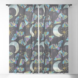 Bloodsucker Buffet Creepy Cute Bat and Mosquito Pattern Sheer Curtain