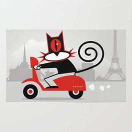 Hellcat on a scooter Rug
