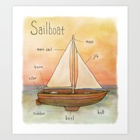 sailboat Art Prints featuring Sailboat by let's build a boat