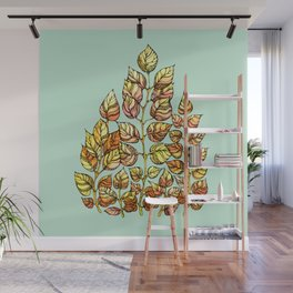 Hand drawn watercolor  golden leaves Wall Mural