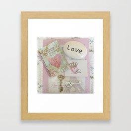 Shabby Chic Love Romantic Decor - Love Skeleton Key Prints Home Decr Framed Art Print