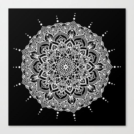 White Mandala With Droplets On Black Canvas Print