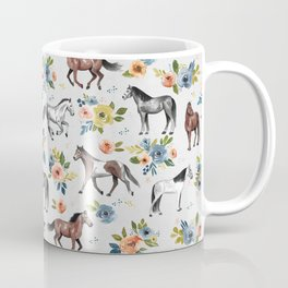 Horses and Flowers Pattern, Floral Horses, Hand-Painted, Horse Love, Watercolor, For Girls Coffee Mug
