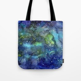 Space Galaxy Blue Green Watercolor Nebula Painting Tote Bag