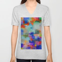 geometric square pixel pattern abstract background in blue pink orange Unisex V-Neck