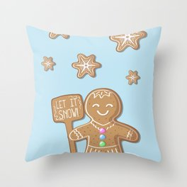 Merry Christmas Blue Poster with Gingerbread Man and Snowflakes Throw Pillow