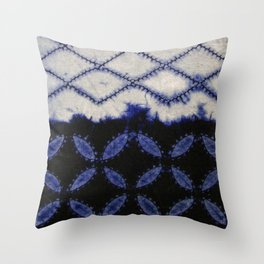V42 Dark Blue Traditional Moroccan Texture Throw Pillow