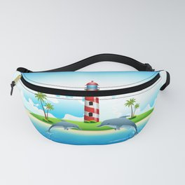 Jumping Dolphin on Sea Fanny Pack