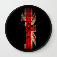 221b Wall Clocks featuring Sherlock Holmes door 221b by BomDesignz