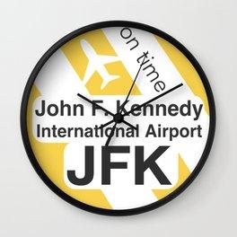 JFK Round yellow Wall Clock