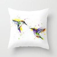 hummingbird Throw Pillows featuring Hummingbird  by Slaveika Aladjova