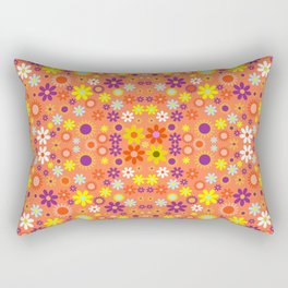 Living Coral Colorful Floral Pattern Rectangular Pillow