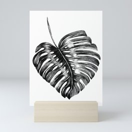 Monstera leaf black watercolor illustration Mini Art Print