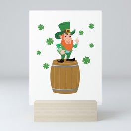 St Patricks Day Leprechaun Barrel Clover Irish design Mini Art Print