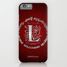 Joshua 24:15 - (Silver on Red) Monogram L Slim Case iPhone 6s