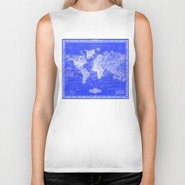 Vintage Map of The World (1833) Blue & White Biker Tank