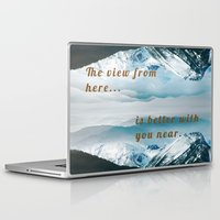 postcard Laptop & iPad Skins featuring Mountains Postcard by Darcy Lynn Designs