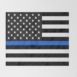 Thin Blue Line American Flag Throw Blanket