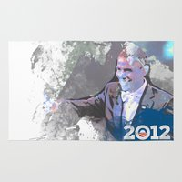 obama Area & Throw Rugs featuring Obama 2012 by Ron Jones The Artist