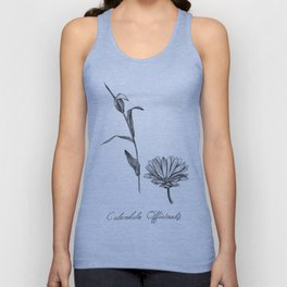 Calendula Botanical Illustration Unisex Tank Top