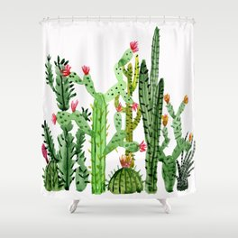 Green Simple Cacti Shower Curtain