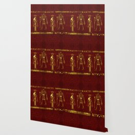 Golden Egyptian Gods and hieroglyphics on red leather Wallpaper