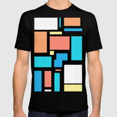 Modern Mondrian (black) Black Mens Fitted Tee MEDIUM