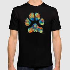 Colorful Dog Paw Print by Sharon Cummings X-LARGE Black Mens Fitted Tee