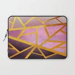Textured Pink Geometric Gradient With Gold Laptop Sleeve